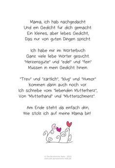 Die Persönliche Note: Freebie: Muttertagsgedicht für Kinder: