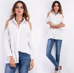96a0a57979d81 Cold Shoulder Button Down Long Sleeved Shirt Black Long Sleeve Shirt