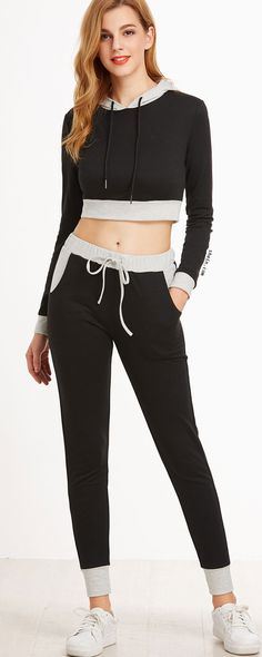 c493a0a4ba8 Shop Black Contrast Trim Crop Hoodie With Drawstring Pants online. SheIn  offers Black Contrast Trim Crop Hoodie With Drawstring Pants   more to fit  your ...