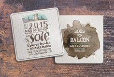 Sous-bock / carte de vœux Beer mat / greeting card Sous Bock, Montpellier, Barware, Graphic Design, Greeting Card, Patio, Visual Communication, Tumbler