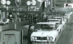 Vintage photograph of the Alfa assembly line.
