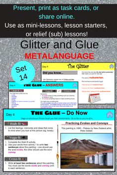 Teach your high school students key verbs to describe what an author is doing. Set 14 from Drive Resources' Glitter and Glue series. Multiple uses including online learning. Great for homeschoolers as well as the traditional classroom. A super popular teacher resource for high school English teachers. Learning Resources, Teacher Resources, Literacy Strategies, Bell Ringers, English Teachers, High School English, Student Teaching, High School Students, Essay Writing