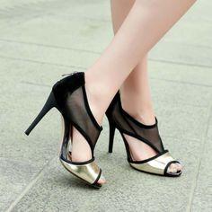 Black Mesh Gold Metallic Heels