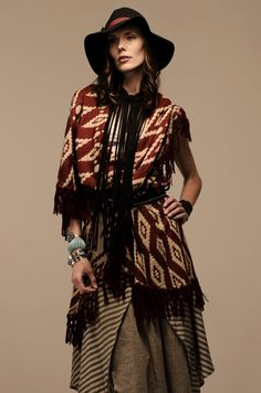 Boho chic hairstyle and clothes. Love the hat!