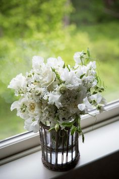 Simple wedding bouquet idea - white + greenery bouquet with garden roses, scabiosa and sweet peas {Angel Project by TJ}