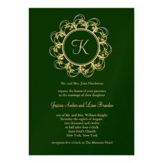 Emerald Green & Gold Monogram Wedding Invitation