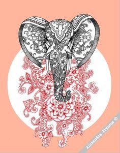 Mehndi Elephant Illustration // A3 Art Print