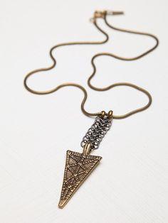 Biko Mira etched arrowhead pendant at Free People. Gorgeous.