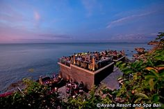 Guests ride a special cable car down a dramatic cliff face to arrive at the brilliantly engineered Rock Bar, perched 46 feet above the Indian Ocean. Bali Nightlife, Nightlife Travel, The Places Youll Go, Places To See, Rock Bar, Beautiful Hotels, Beautiful Scenery, Jimbaran, Travel News