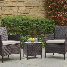 Patio furniture will extend your fun and relaxation time to your outside space. Within the key pieces, you can find for a patio, patio chairs are the number one and essential to have. Even if you don't have a table, a patio chair will always allow you to chill and enjoy the sun outdoors. And maybe invite some company over to sit down and talk. Wicker Table And Chairs, Outdoor Tables And Chairs, Wicker Patio Furniture, Garden Furniture Sets, Outdoor Garden Furniture, Table And Chair Sets, Patio Chairs, A Table, Table Furniture