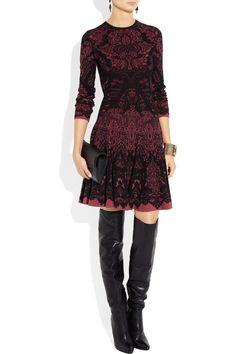 Alexander McQueen|Intarsia wool-blend dress|NET-A-PORTER.COM