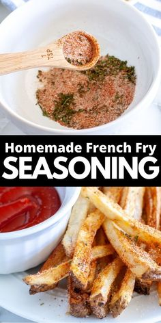 Easy, homemade french fry seasoning is the perfect way to add flavor to your fries. Simple spices combined to make a delicious french fry seasoning mix. Homemade Seasonings, Homemade Sauce, French Fry Seasoning, Homemade French Fries, Lunch Snacks, Diet Snacks, Potato Side Dishes, Latest Recipe, Light Recipes