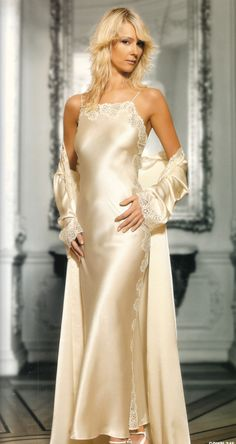 To me, there is nothing more sensuous than a silk nightgown and robe! It is the ultimate romantic lingerie!