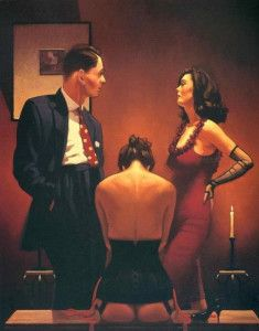 Scarlet Ribbons by Jack Vettriano. Image for Erotic Fiction: A Good Love by Malin James