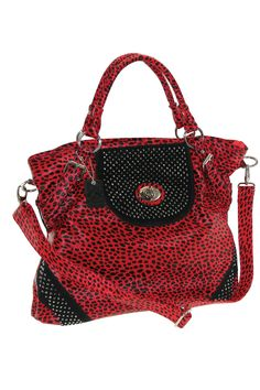 B-Collective by Buxton Leopard Print Tall Tote In Red - I know someone who needs this :) $44.99