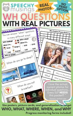 Need a way to work on simple, relevant WH questions in speech and language therapy with students who need REAL pictures? Look no further! For each WH question type I've included:A poster A complex poster Progress monitoring form/data collection sheet 20 WH Question Picture Cards, and more! Your speech therapy students will have fun while working on WH questions! Sensory Activities For Autism, Preschool Special Education, Speech Therapy Activities, Language Activities, Speech Language Pathology, Speech And Language, Language School, Wh Questions, This Or That Questions