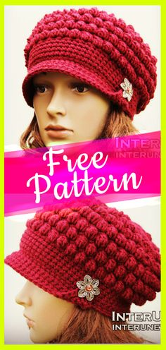 Crochet Newsboy Puff Stitch Hat Free