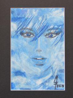(c) MW Art Marion Waschk, 2015 wolkig bis himmelblau Drawing, Oil Sticks on Paper, A4
