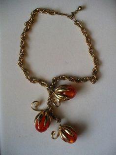 Vintage Napier Necklace With Lucite Moonstones