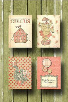 Nursery Art Print, Vintage Inspired, Girl Circus 4 Print Nursery Set 8x10 Size. $54.00, via Etsy.