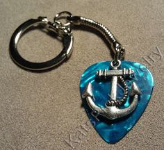Anchor on Turquoise Pearl Guitar Pick w/ Snake Chain Keyring/Keychain by Kat's Pick Jewelry