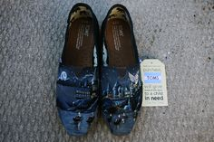 Harry Potter Hogwarts Custom Hand Painted TOMS for TJ  Size 7.0 Womens TOMS, Hogwarts castle, patronus, deathly hallows!  These custom one-of-a-kind