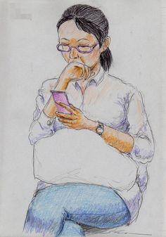 『口に手を当てているお姉さん(通勤電車でスケッチ)』 It is a sketch of a woman wearing a white shirt. I drew on the train going to work towards the company.