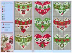 сердечки к новому году, новогодняя вышивка крестом, миниатюра, подборка простых и удобных цветных схем