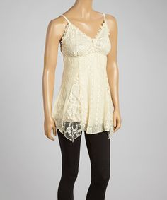 This Caramel Lace Silk-Blend Tank by Pretty Angel is perfect! #zulilyfinds
