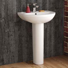 Sabrosa Basin & Pedestal - Single Tap Hole [PT-CB607FPB] - £89.99 : Platinum Taps & Bathrooms