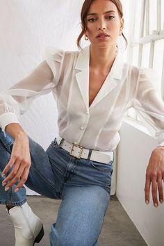 Poplin Ruffle-Hem Shirt in 2020 Trend Fashion, Look Fashion, Fashion Outfits, Club Fashion, Fashion Guide, Fashion Videos, Ladies Fashion, Fashion Clothes, Fashion Design
