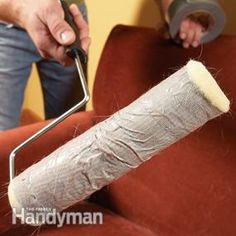 Wrap duct tape around a paint roller to clean pet hair from furniture.  Lots of other great cleaning tips.....