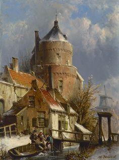 Willem Koekkoek (Amsterdam 1839-1895 Nieuwer-Amstel (thans Amstelveen)) Winters stadsgezicht met oude vestingtoren - Kunsthandel Simonis en Buunk, Ede (Nederland).