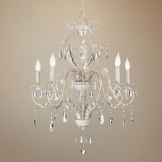 Kathy Ireland Devon 5-Light Antique White Crystal Chandelier - thinking I may want this in a nursery or over the tub in my master bath.