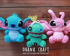 Free Shipping-Lilo and Stitch, Scrump and Angel inspired crochet doll, Stitch Plushies -Made to order