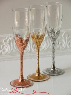 Lace Silver Personalized Wedding Set Champagne Flutes, Wedding Toasting Flutes Set, Flute Engraved Champagne Glasses Server Gift Set Wonderful Lace Silver wedding champagne flutes will become a good decision for your celebration. Exclusive products from DiAmoreDS are perfect for your