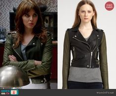 Kitty's leather jacket with green sleeves on Elementary.  Outfit Details: http://wornontv.net/41611/ #Elementary