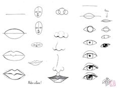 Draw Face Parts by Diana-Huang on DeviantArt - Einfach Mouth Drawing, Nose Drawing, Drawing Faces, Drawing Practice, Drawing Lessons, Art Lessons, Drawing Tutorials, Art Tutorials, Face Sketch