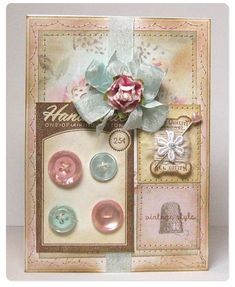 By: Cathy Santie  (Supply List: Patterned Paper - Flora (PA361), Pearl (PA371) • Other, non-Melissa Frances supplies: paper doily, sewing machine and thread, seam binding, rubber stamps and ink, ribbon flower, buttons)