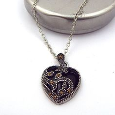 Statement Necklace plated Marcasite Blue Turquoise Heart Pendant Necklace Metal Chain Necklaces