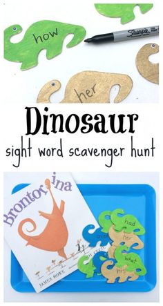 Read & Find Sight Word Activity (No Time For Flash Cards) Letter Sound Activities, Dinosaur Activities, Spelling Activities, Sight Word Activities, Kindergarten Activities, Dinosaurs Preschool, Summer Activities, Teaching Sight Words, Sight Word Practice