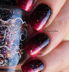 Glittery pink and black gradient with China Glaze  Cult Nails  Polish  lsquo M Polishes used: China Glaze Ahoy! [previously swatched] 2 coats no top coat Cult Nails Nevermore Polish M Waverly Hills