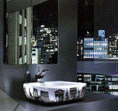 modern bathroom furniture, sinks, wall mirrors and bathroom lighting