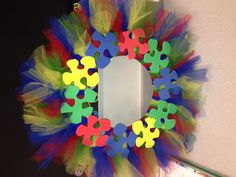 Autism Awareness Wreath :)