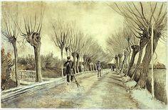 Vincent van Gogh -vegen van de weg bij Etten  1881 / krijt, potlood, pastel, waterverf. Ondertekening in pen en bruine inkt.