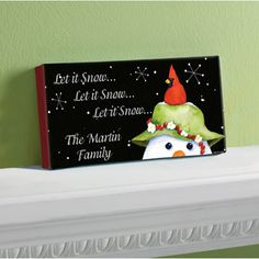"Personalized ""Let it Snow"" Canvas, 5"" x 11"""