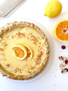The Twist: Hazelnut Crust The tart recipe is a perfect summer treat with its hazelnut crust and zest of lemon and orange that gives this dessert unique tangy and amazing taste. This is a quick and … Lemon Desserts, Summer Desserts, Sweet Desserts, Easy Desserts, Delicious Desserts, Dessert Recipes, My Favorite Food, Favorite Recipes, Caramel Crunch