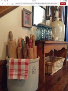 Buckets of rolling pins