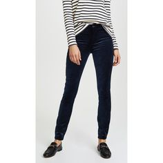 PAIGE Hoxton Velveteen Skinny Pants ($209) ❤ liked on Polyvore featuring pants, skinny trousers, zipper pants, velveteen pants, zip pants and paige denim pants