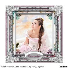 Silver Teal Blue Coral Pink Photo Quinceanera 5.25x5.25 Square Paper Invitation Card